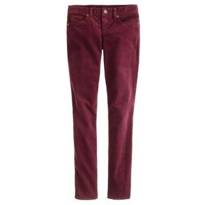 J. Crew Toothpick Ankle Corduroys in Cabernet