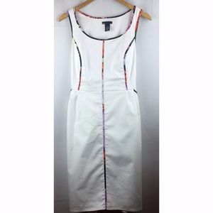 Lane Bryant White Multicolor Trim Sleeveless Dress