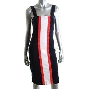 dvf • porta color block navy orange pencil dress