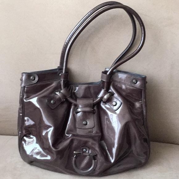 New Salvatore Ferragamo grey patent leather bag 498e9c1d02f3e