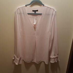 Pale pink ruffle blouse