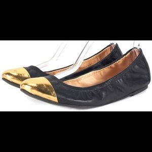 Loeffler Randall Black Gold Leather ballet flat 8
