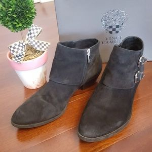 Vince Camuto suede booties with buckle