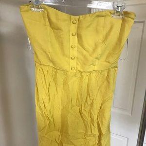 Yellow strapless sundress