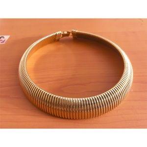 Vintage Gold Choker Necklace, Wide Bib Choker
