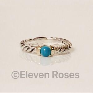 David Yurman Sterling & 14k Turquoise Hampton Ring