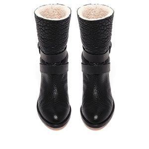 Loeffer Randall Black shearling vesper boot 8