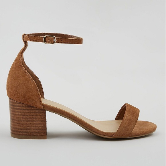 b03e70dfc00 Wide Fit Brown Suede Ankle Strap Block Heel Sandal