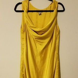 Gorgeous yellow gold satiny cowl neck gown