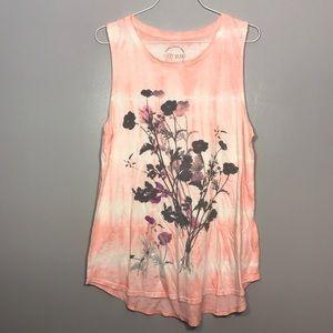 [Lucky Brand] Flower Tie Dye Muscle Tee Tank Top