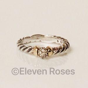 David Yurman Sterling & 18k Diamond Hampton Ring