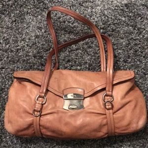 Authentic tan leather Prada shoulder saddle bag