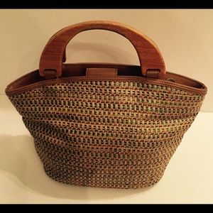 Fossil multicolor wicker purse wooden handle bag