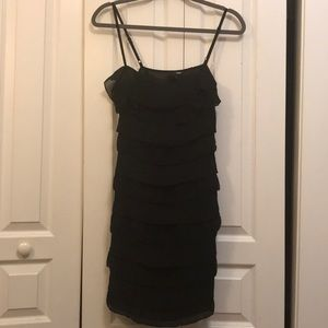 black ruffled party dress