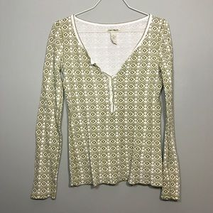 [Lucky Brand] Green and White Long Sleeve Thermal