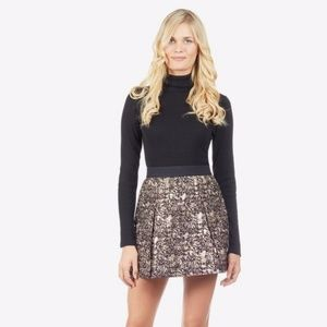 Noir Metallic Pleated skirt