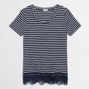 J. Crew Navy White Striped Lace-Hem T-shirt