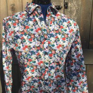 LandsEnd L floral button up shirt