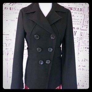 Guess Asymmetrical Wool blend pea coat
