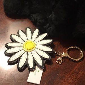 Kate Spade Leather Daisy Purse Keychain