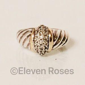 David Yurman Sterling & 18k Diamond Dome Ring