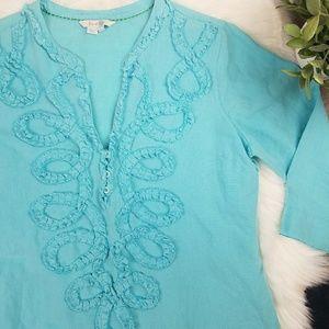 Boden Linen Tunic sz UK 14 turquoise blue