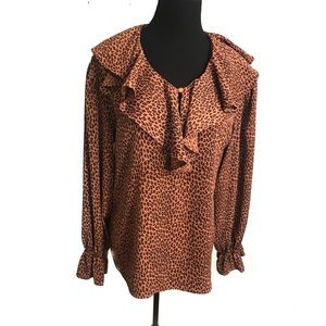 Adorable vintage leopard ruffled blouse top