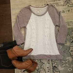 EUC Lucky Brand Pullover Sweater with Knit Front
