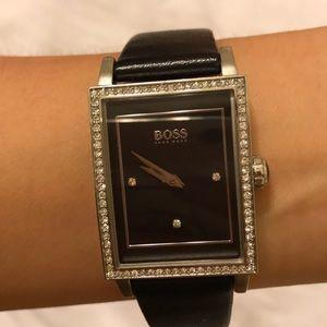 Hugo Boss Genuine Leather Watch w/ Crystals