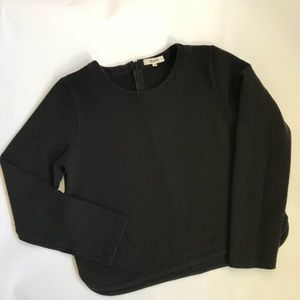 Madewell Quilted Cropped Sweatshirt Black