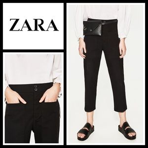Zara black ankle trousers with pockets