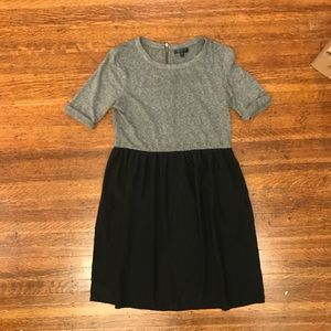 Topshop babydoll dress black grey color block work