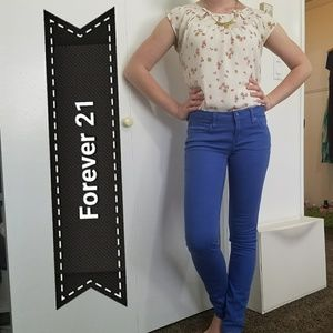 Forever21 Cotton Skinny Low-Rise Blue Pants