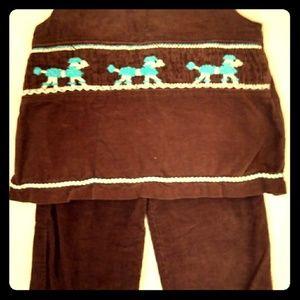 Smocked Corduroy 2 Pc Oufit, Girls Size 2T, EUC