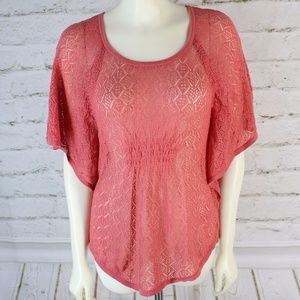 🎁 Sonoma • Pink Lace Detailed Ruched Top