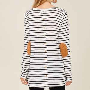 STACCATO Tops - NWT  BUTTON BACK SUEDE ELBOW PATCH LONG SLEEVE TOP