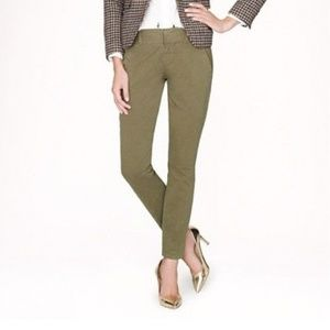 New J CREW ANDIE Cotton Chino Pants Olive ankle