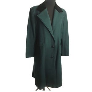 Beautiful forest green wool velvet duster coat