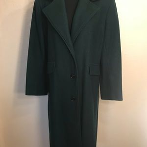 Vintage Jackets & Coats - Beautiful forest green wool velvet duster coat