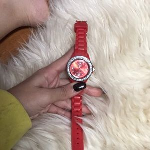 Woman red rubber watch