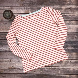 Boden Orange Striped Breton Long Sleeve Top