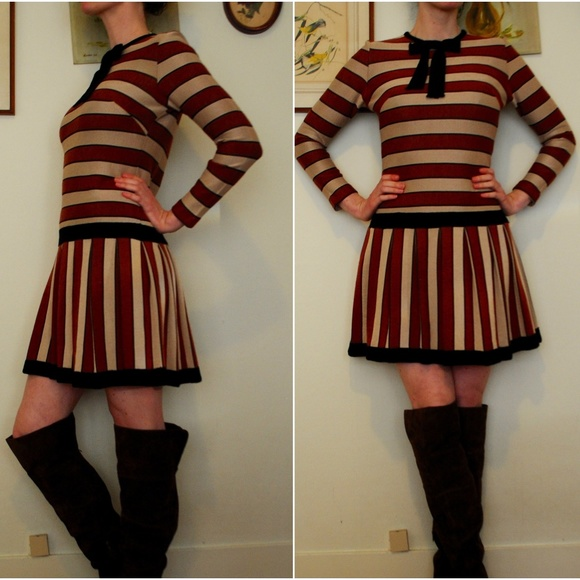 Vintage Dresses & Skirts - Adorable rust and tan striped mod 1960s dress