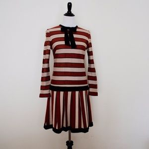 Vintage Dresses - Adorable rust and tan striped mod 1960s dress