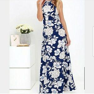 Lulus Floral Print Halter Maxi Dress