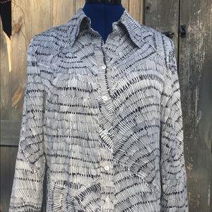 Ellen Tracy M/L 100% Silk oversized ladies blouse