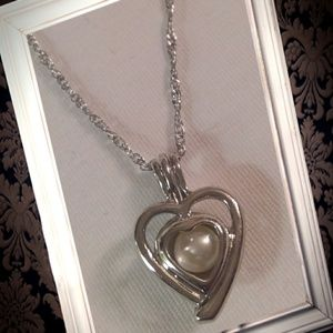 Jewelry - 925 silver heart pearl cage locket necklace