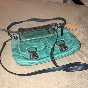 Coach distressed turquoise crossbody bag & wallet