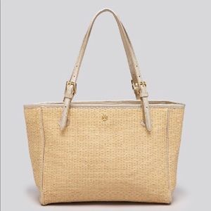 Tory Burch York straw small buckle tote
