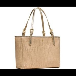1927e89d18f6 Tory Burch Bags - Tory Burch York straw small buckle tote