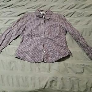 Purple and navy plaid button down